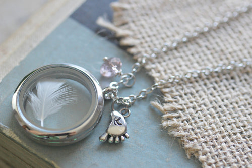 New Mum Jewellery, Mom Necklace, Floating Locket Baby Keepsake,  Baby Boy Gift, Baby Girl Gift, Infant loss jewelry, Lock of Hair Keepsake