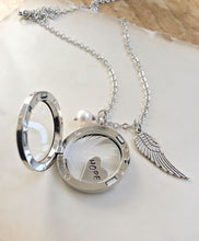 Load image into Gallery viewer, Hope Necklace, Hand-stamped Jewellery, Floating Locket, Hand Stamped Necklace, Memory Locket, Word Necklace, Keepsake, Angel Wing Necklace