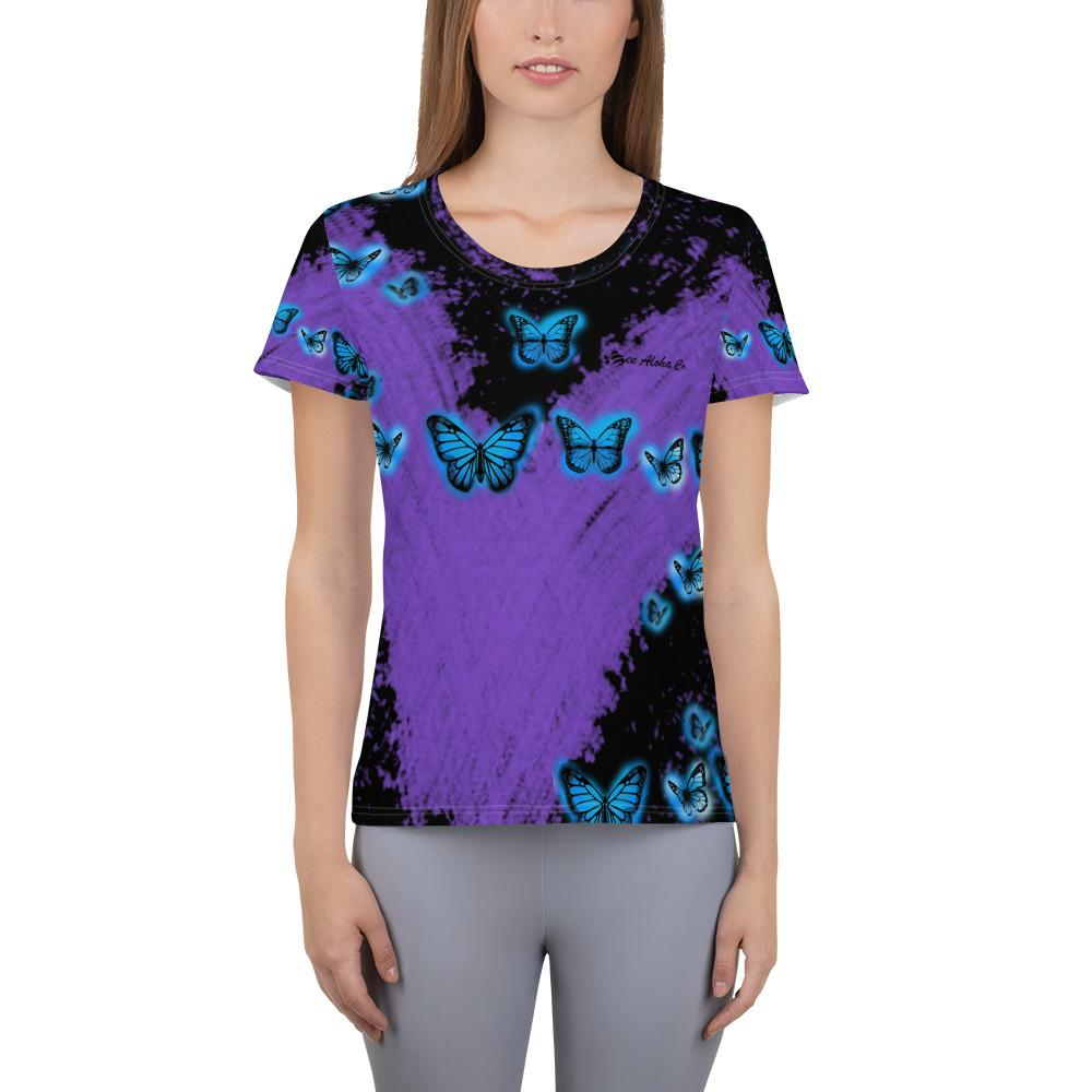 Butterflies & Purple Rain Women's Athletic T-shirt