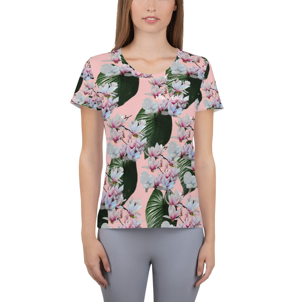 Hawaiian- Magnolia Blossom Women's Athletic T-Shirt