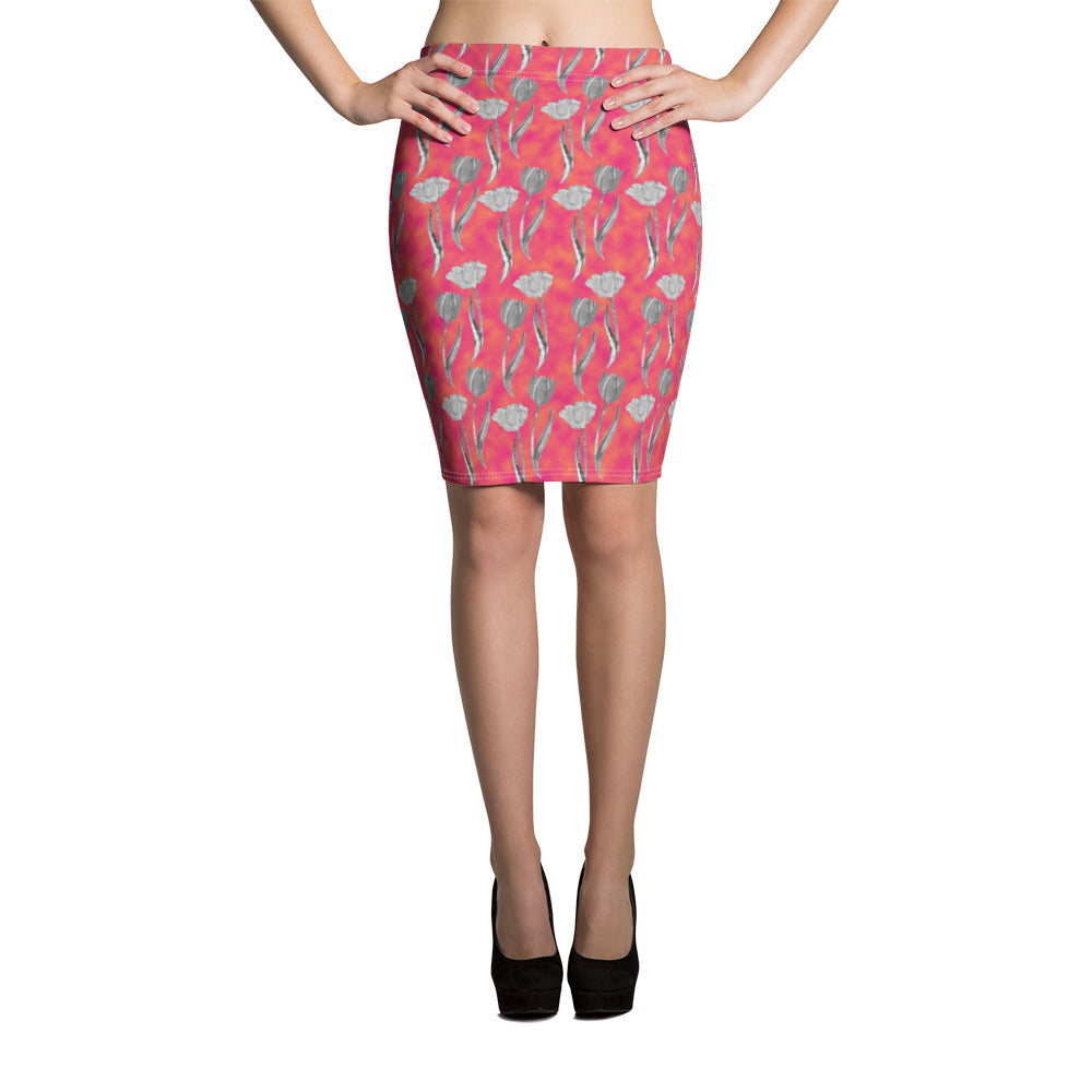 Tulips Pencil Skirt
