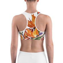 Load image into Gallery viewer, Tropical Flowers Sports bra