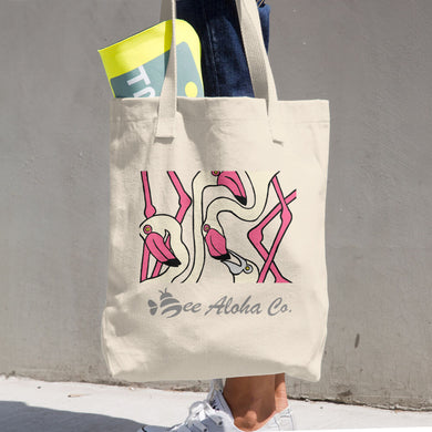 Pink Flamingo Cotton Tote Bag
