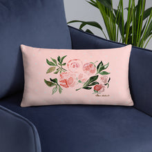 Load image into Gallery viewer, Peony Watercolor Design Basic Pillow 20x12