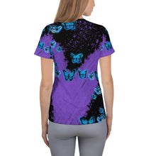Load image into Gallery viewer, Butterflies & Purple Rain Women's Athletic T-shirt