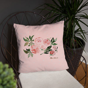 Peony Watercolor Design Basic Pillow 18x18