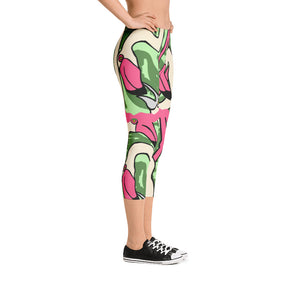 Pink Flamingo Capri Leggings