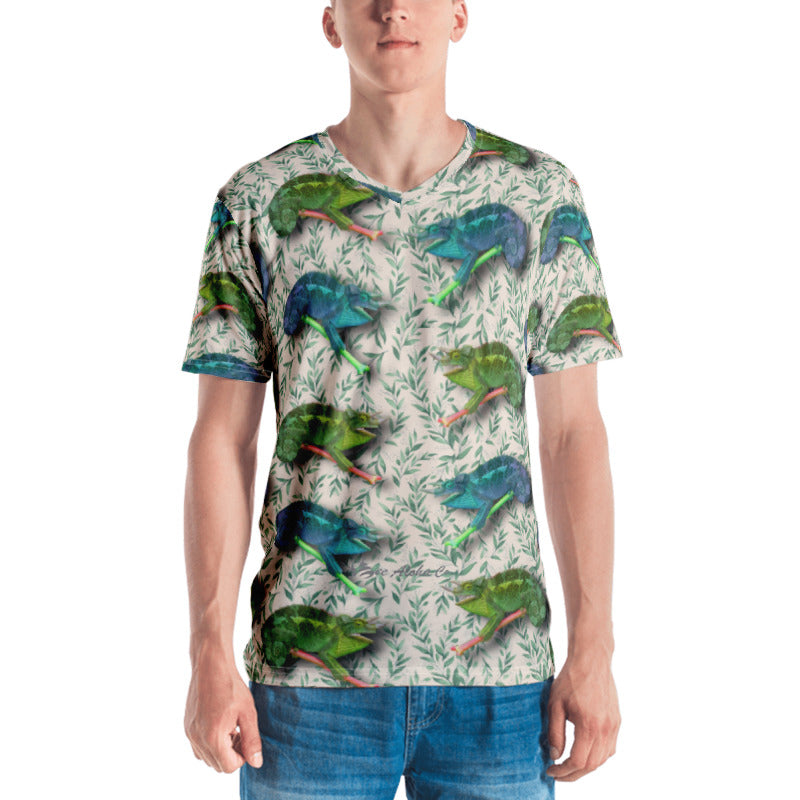 Hawaiian Chameleon Men's V-Neck T-Shirt