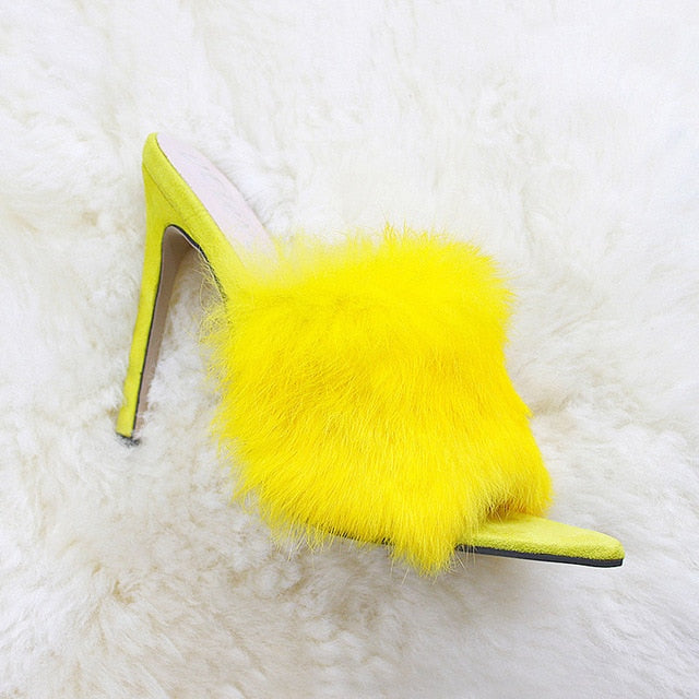 Tanaya Faux Fur Mules - Yellow