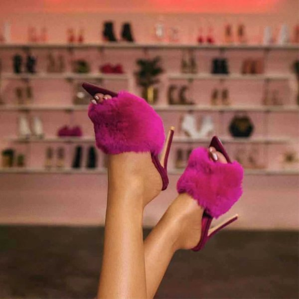 Tanaya Faux Fur Mules - Purple