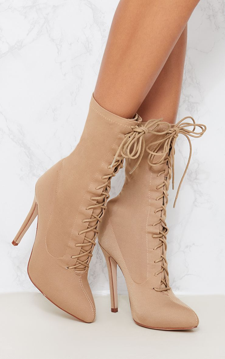 Aquila Nude Lace Up Sock Boots