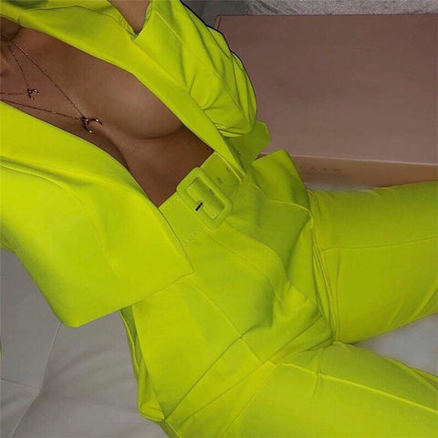 Bright Lights Crop Suit - Neon Yellow