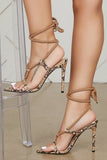 Delida Snake Lace Up Heels