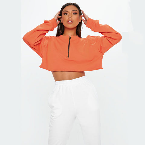 Orange Cropped Zip Up Sweater