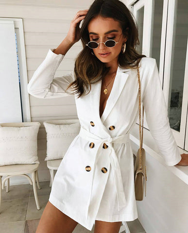 White Belted Blazer Dress
