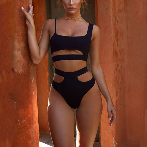Black Two Piece Cut Out Bikini Set