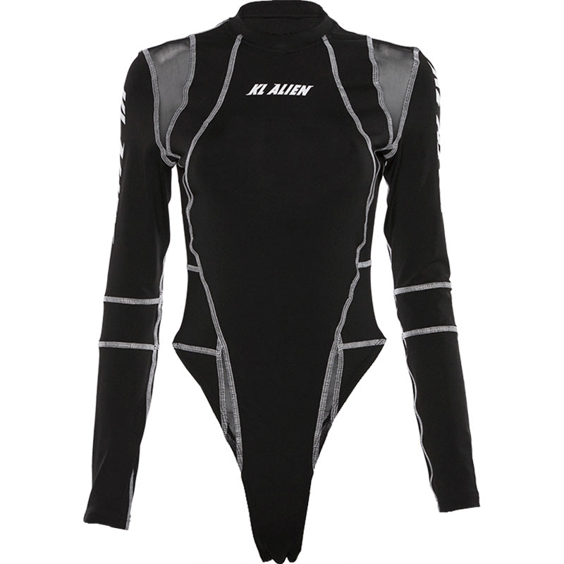 Alijai High Cut Long Sleeve Bodysuit