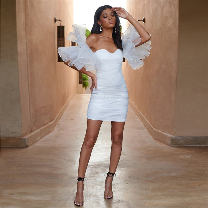 Top Notch Ruched Mesh Mini Dress