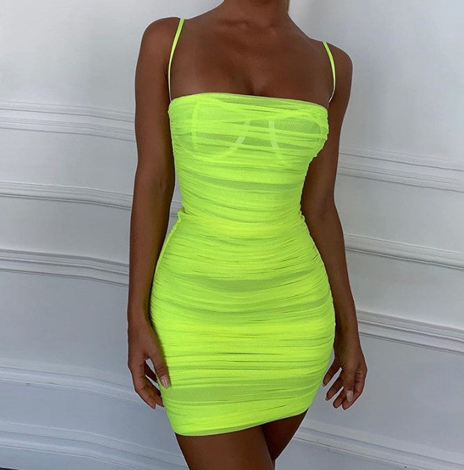Antalya Neon Mesh Ruched Up Bodycon Dress