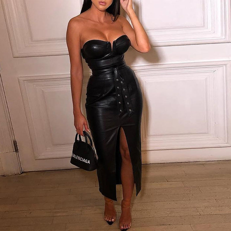 Mistress Leatherette Midi Dress