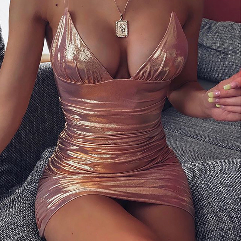 Island Girl Clear Strap Metallic Mini Dress