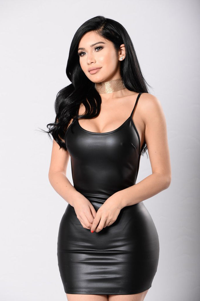 Take Me Home Backless Faux Leather Dress