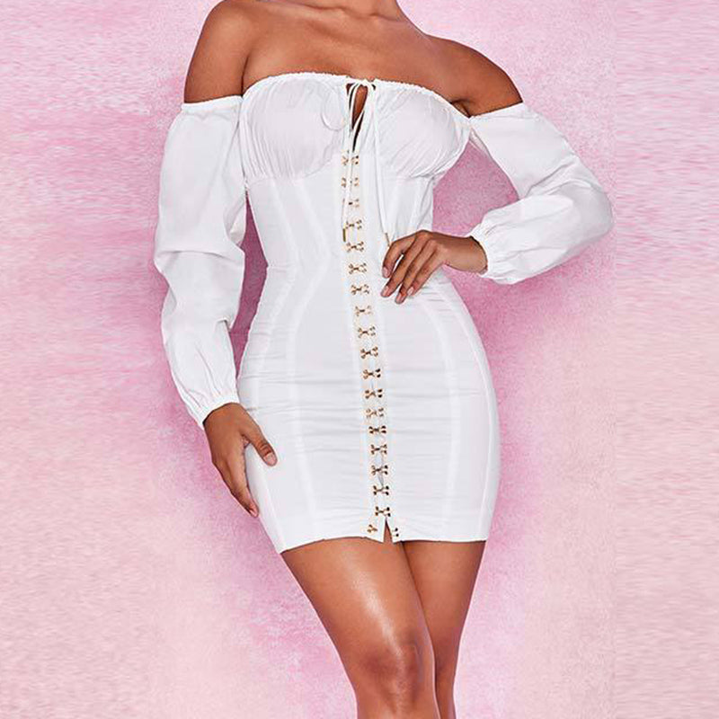 Aaliyah Bardot Hook & Eye Bodycon Dress - White