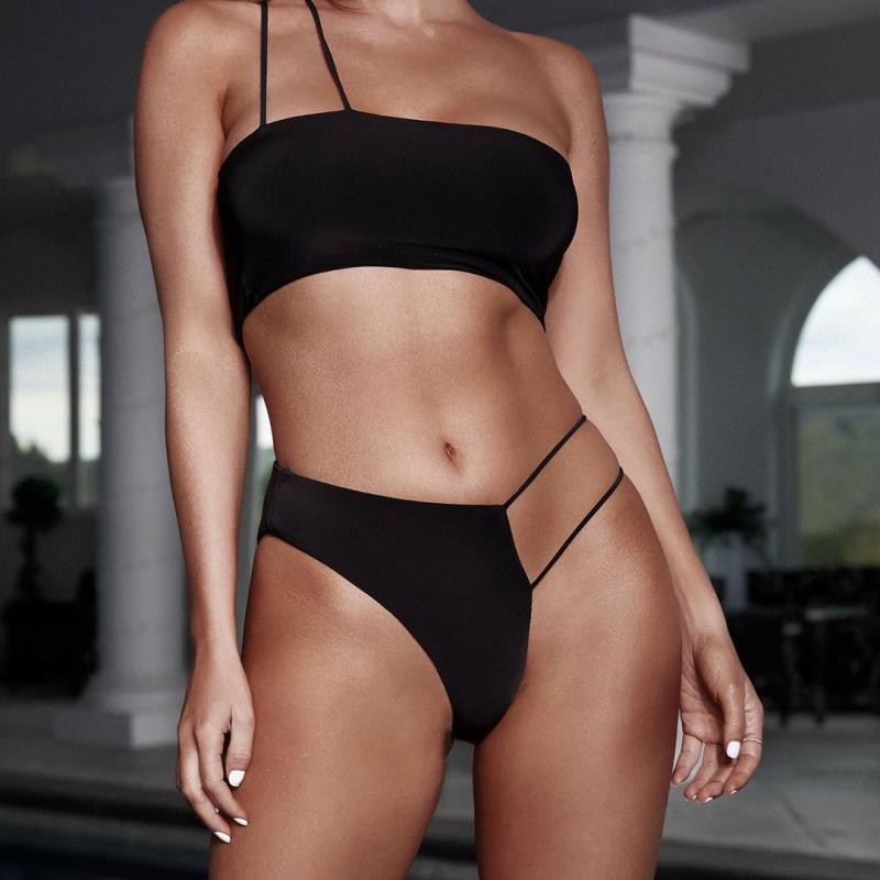 One Side Cut Out Bikini - Black