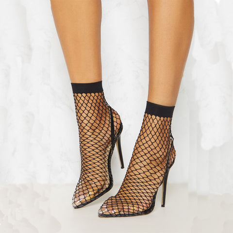Kalua Fishnet Perspex Slingback Pumps - Black