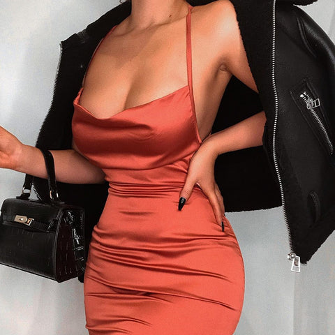 So Lavish Satin Midi Dress