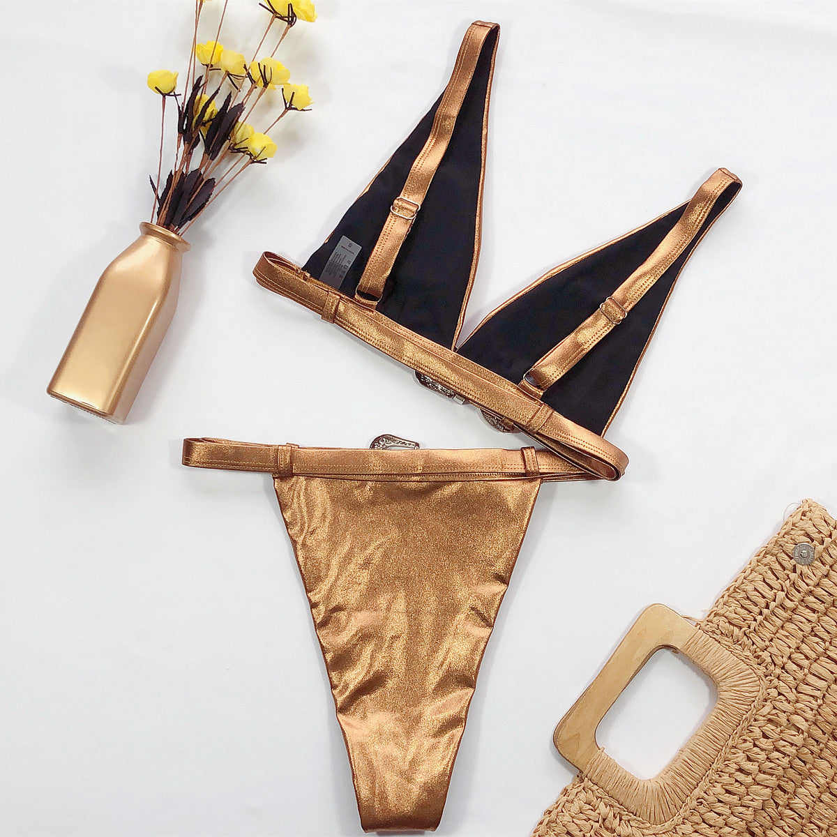 Hidden Treasure Belted Metallic Bikini