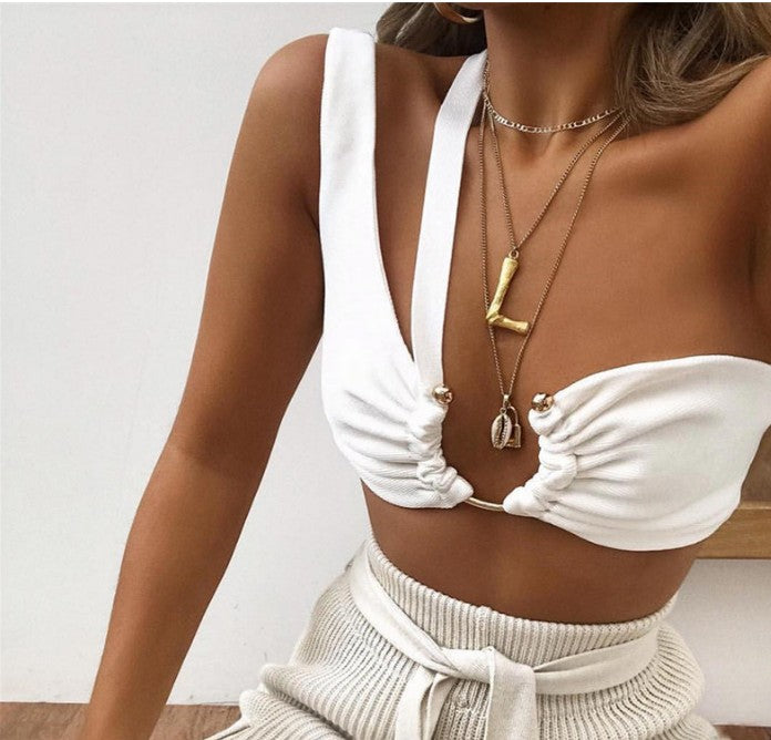 White Metallic Detail Assymetrical Cut Out Crop Top
