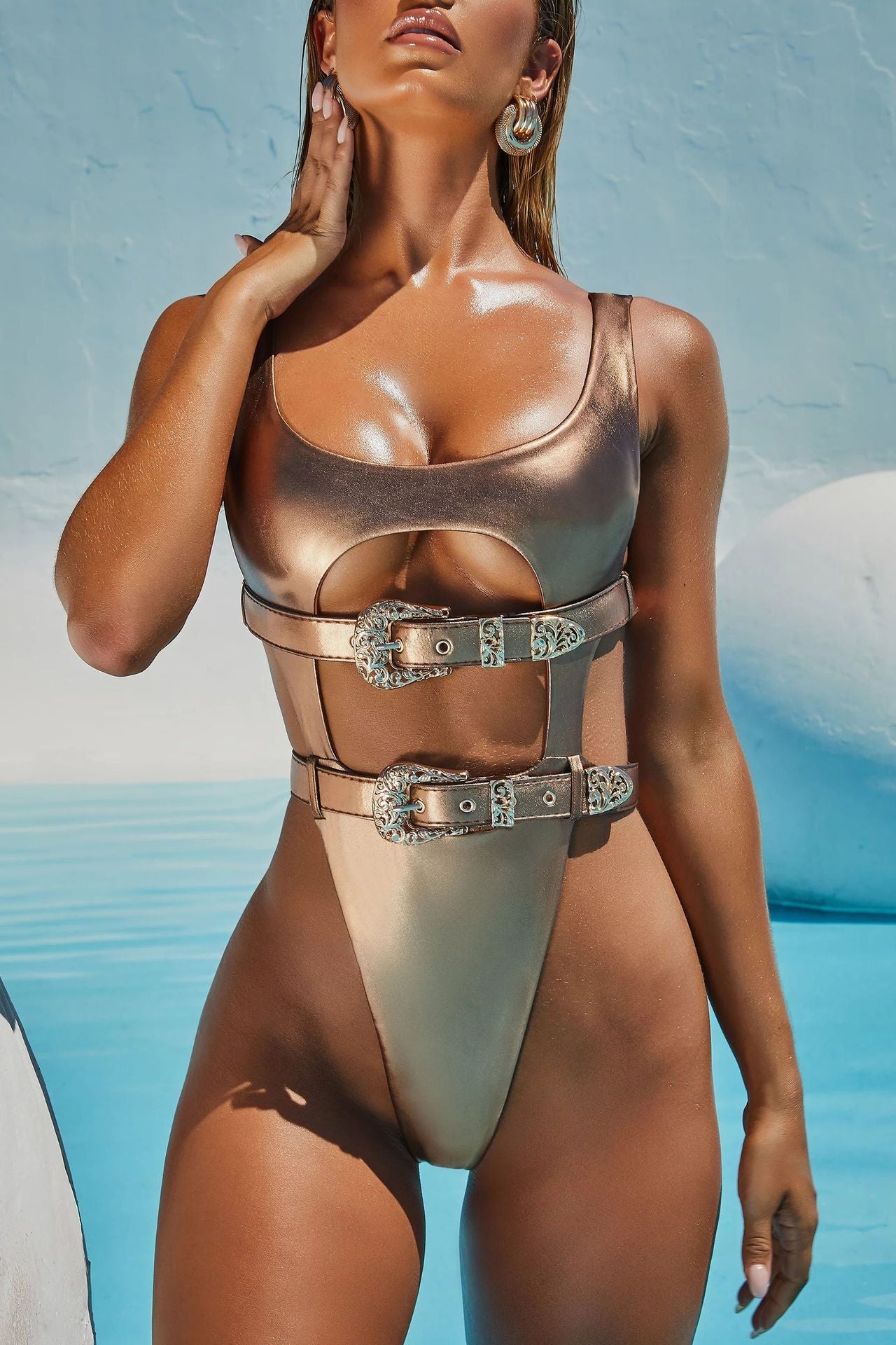 Treasure Chest Belted Metallic Monokini