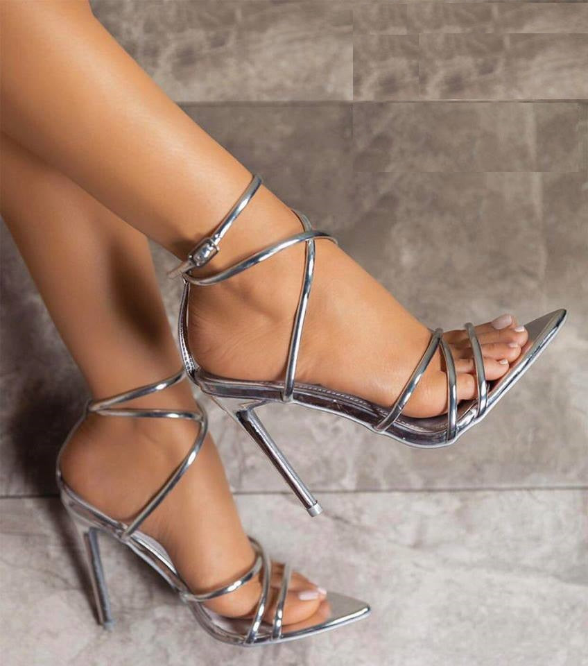 Alija Pointed Heel In Patent Silver