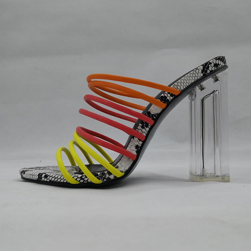 Connie Multicolored Stringed Heels