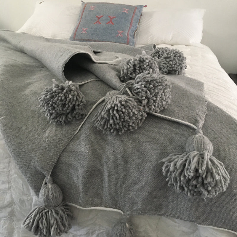 Moroccan Pompom Throw Blankets - 3 Colour Choices