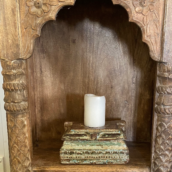 Indian Timber Candle Holders