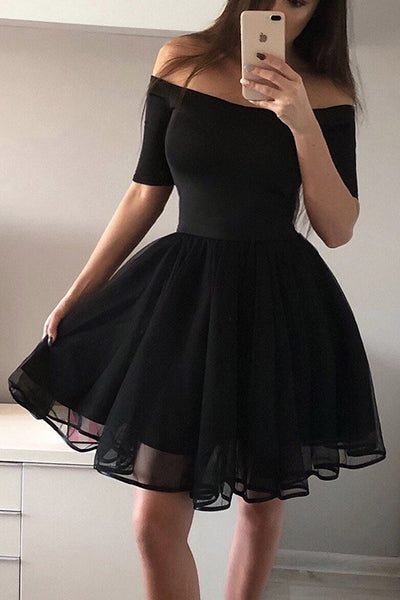 Off Shoulder A Line Black Mini Dress