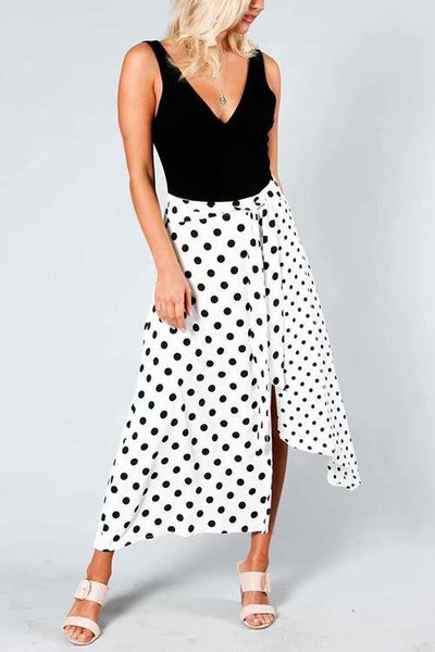 Dot Print Irregularity Skirts