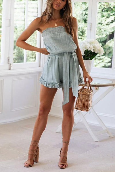 Strapless Belted Romper