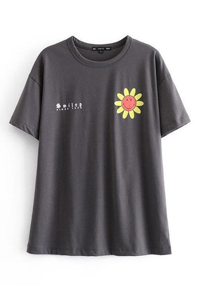 Sunflower Print Short Sleeve T Shirt