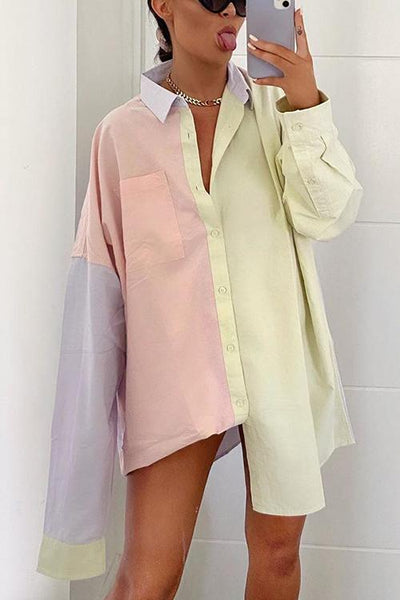 Color Block Loose Shirt