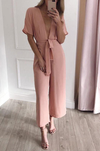 Deep V Neck Knot Jumpsuit