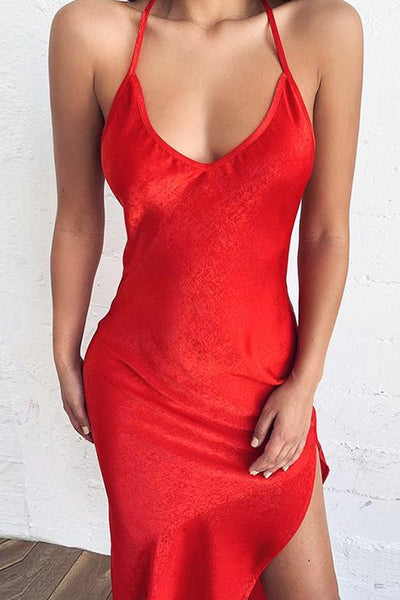 V Neck Slit Slip Dress