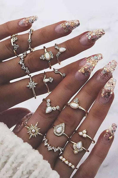 Rhinestone Ring Set