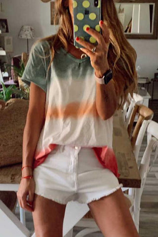 Color Block V Neck T Shirt