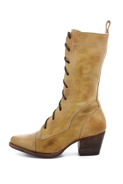 Viantage Leather Lace Up Chunky Heel Boots