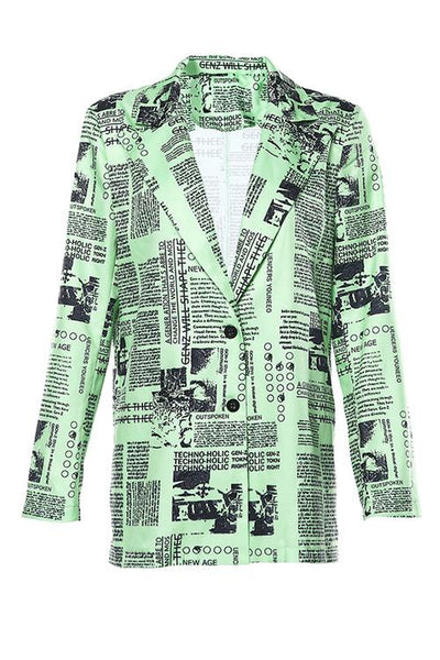 Newspaper Print Blazer