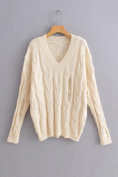 Ripped V Neck Sweater