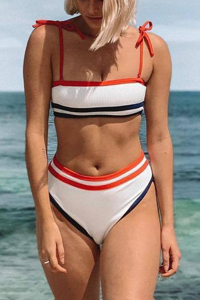 Stripe High Waist Bikini Set